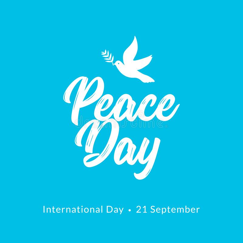 International Peace Day card. Dove and olive branch hope holiday symbol vector illustration of freedom love faith and peace royalty free illustration