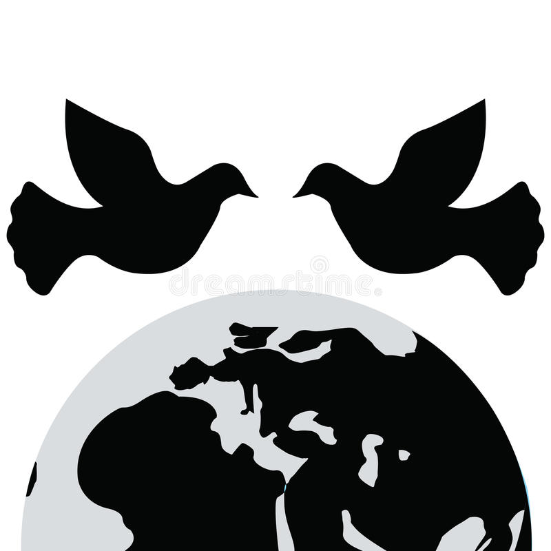 International Peace Day.Dove icon and vector royalty free illustration