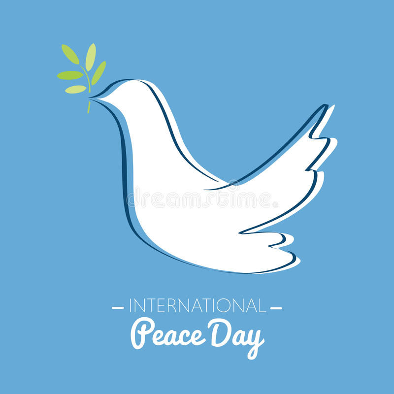International peace day with drawing of a dove with olive branch vector illustration