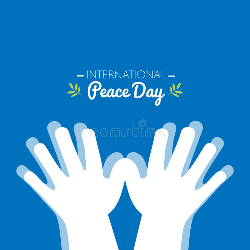 International peace day with hands making the shape of a dove royalty free illustration
