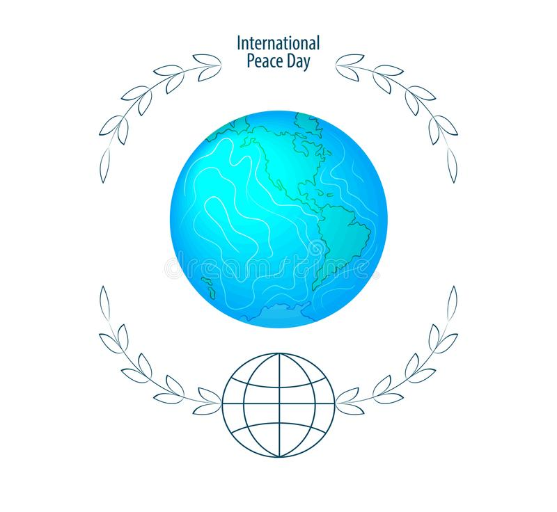 International peace day. September 21st. Background template for poster or Banner design. Peaceful planet Earth in a round frame o vector illustration