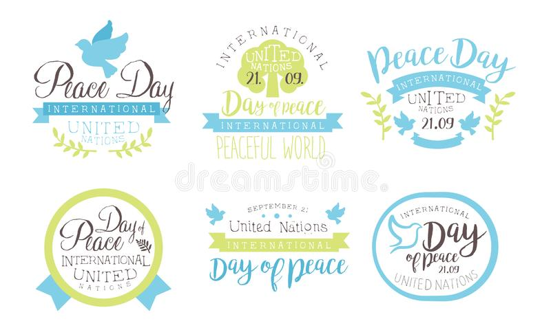 International Peace Day, United Nations Templates Set, Peaceful World Hand Drawn Badges Vector Illustration vector illustration