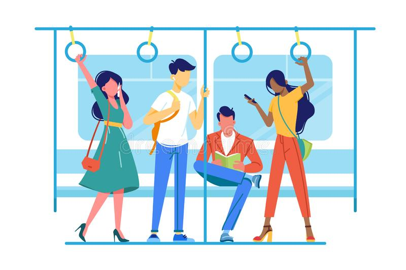 International people go to subway, underground about their business. Concept metro with man and woman, students and employee. Vector illustration royalty free illustration