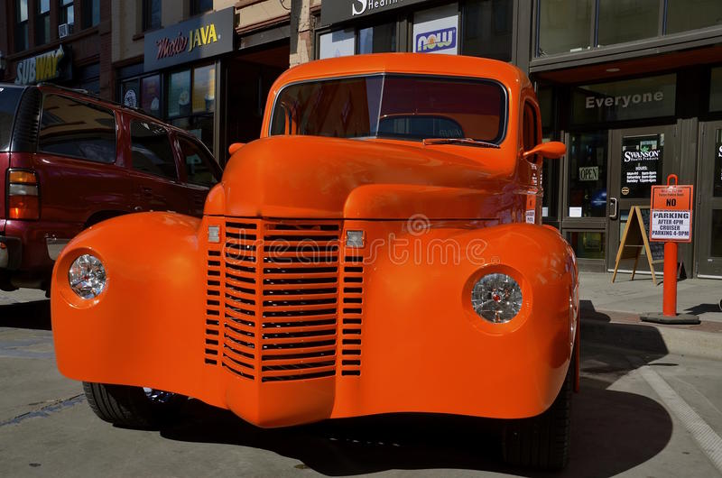 '46 International pickup becomes a street rod stock image