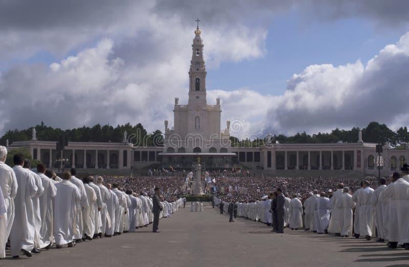 International pilgrimage at Fatima 13 May stock photos