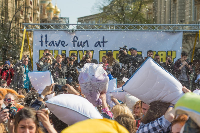 International Pillow Fight Day 2016 stock photography