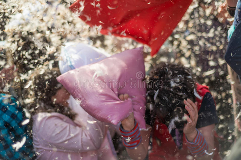 International Pillow Fight Day 2016 royalty free stock images