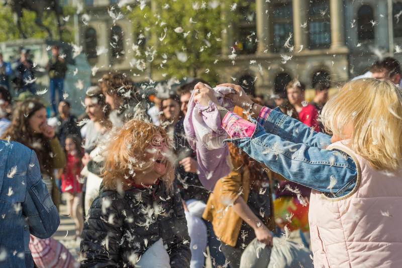 International Pillow Fight Day 2016 stock images