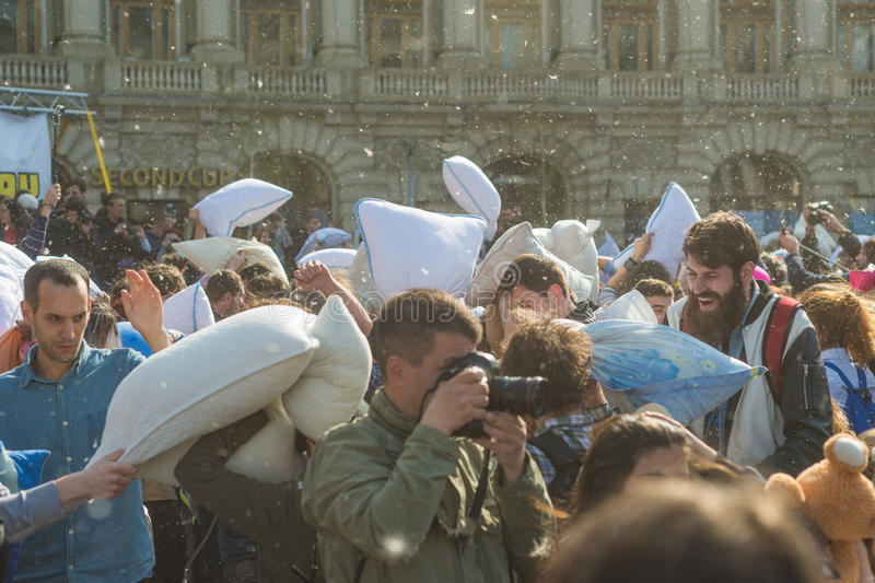 International Pillow Fight Day 2016 royalty free stock photo