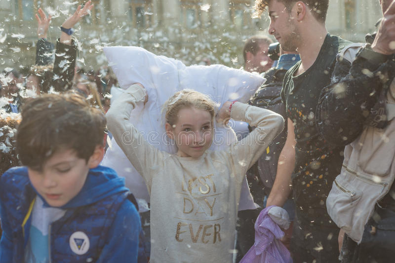 International Pillow Fight Day 2016 royalty free stock photos