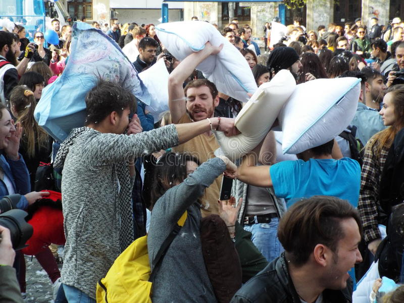 International pillow fight day bucharest 2016 royalty free stock images