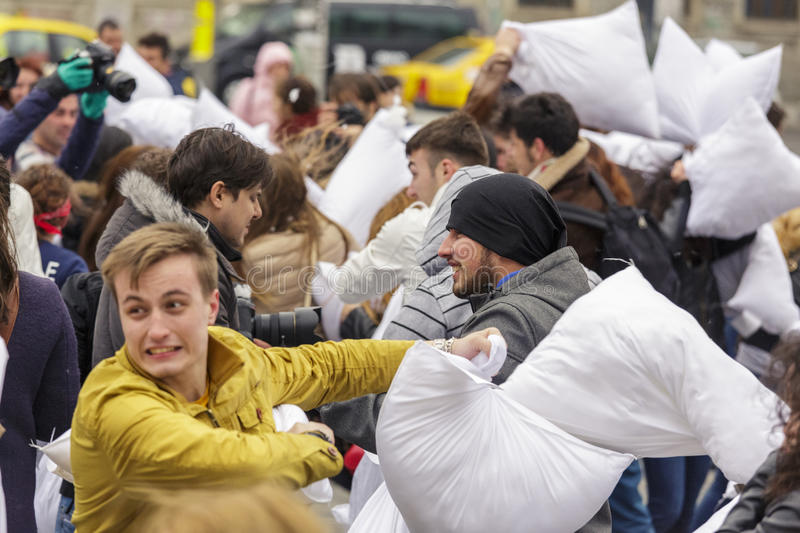 Download International Pillow Fight Day Editorial Image - Image of daylight, flash: 39508330