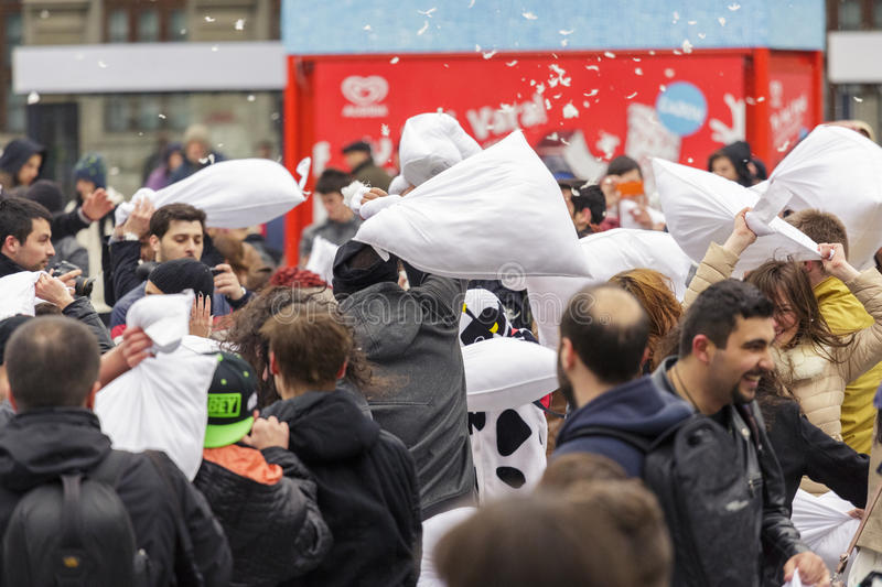 Download International Pillow Fight Day Editorial Photography - Image of lifestyle, event: 39508342
