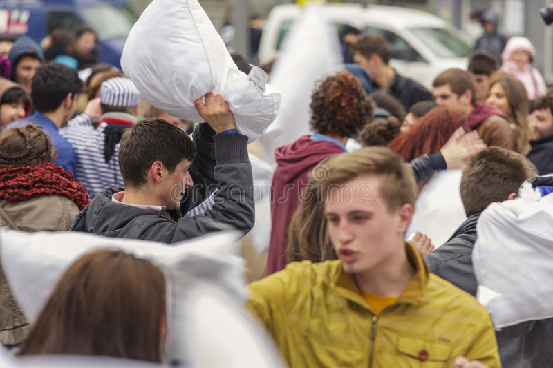 Download International Pillow Fight Day Editorial Photography - Image of leisure, active: 39508352
