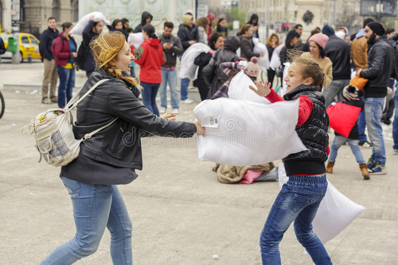 Download International Pillow Fight Day Editorial Stock Photo - Image of human, lifestyle: 39508348