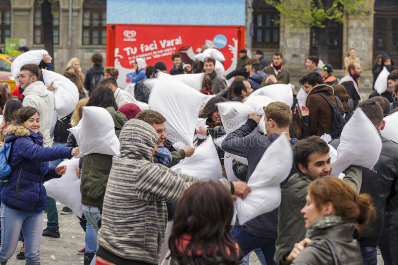 Download International Pillow Fight Day Editorial Stock Image - Image of lifestyle, friends: 39508339