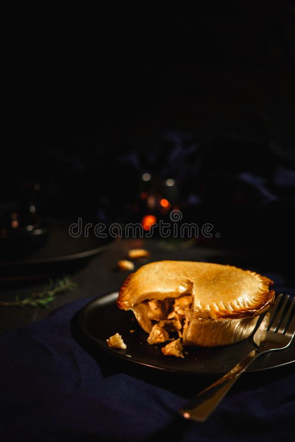 International puff and pie, Chicken pie, round and golden baked pie royalty free stock photos