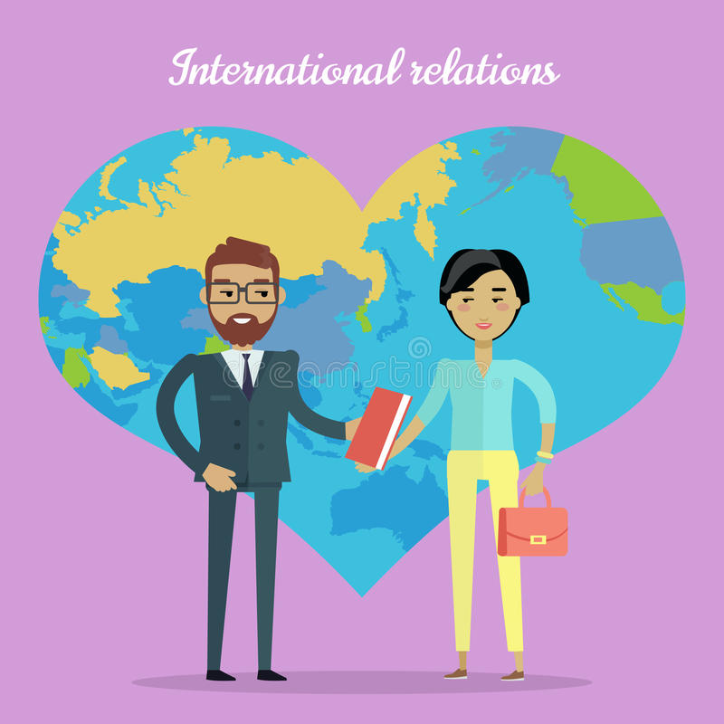 International Relations Flat Design Vector Concept stock illustration