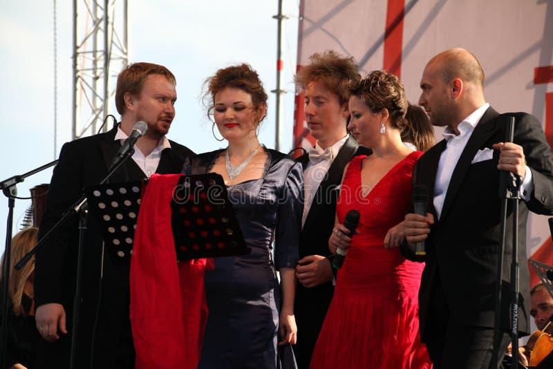 International Russian Italian Opera quintet on the open stage of festival Opera of Kronstadt. five singers of world Opera stars. stock image