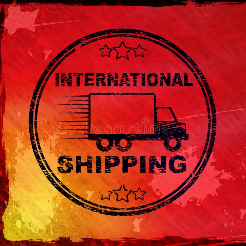 International shipping concept icon means delivery by overseas mail - 3d illustration. International shipping concept icon means delivery by overseas mail. Fast stock illustration