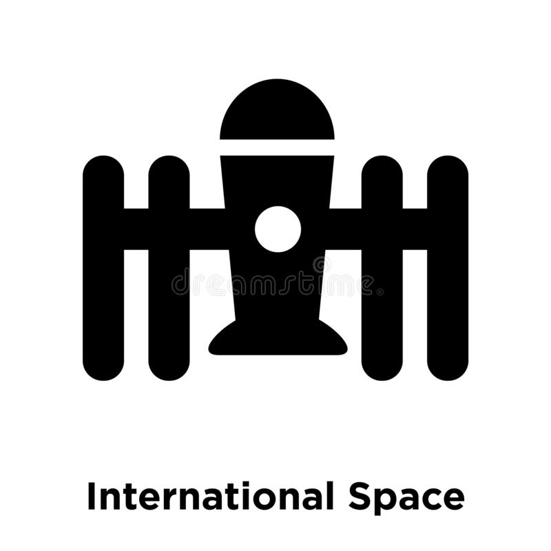 International Space Station icon vector isolated on white background, logo concept of International Space Station sign on stock illustration