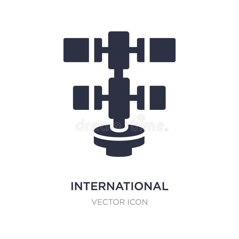 International space station icon on white background. Simple element illustration from Astronomy concept. International space station sign icon symbol design vector illustration