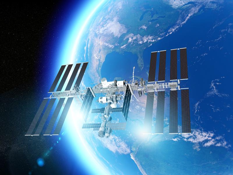 The International Space Station ISS is a space station, or a habitable artificial satellite, in low Earth orbit. Satellite view stock illustration