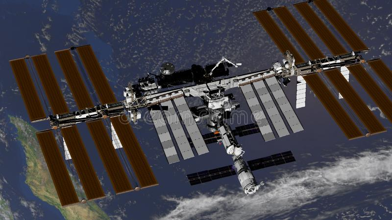 International Space Station ISS revolving over earths atmosphere. Elements of this image furnished by NASA. 3D rendering stock illustration
