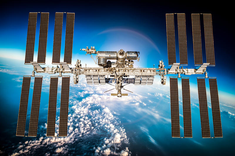 International Space Station. Over the planet earth. Elements of this image furnished by NASA