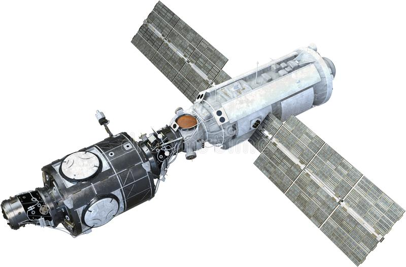 International Space Station, Satellite, Isolated. Illustration of the international space station. The satellite is used to explore space. Isolated on white, PNG royalty free stock image