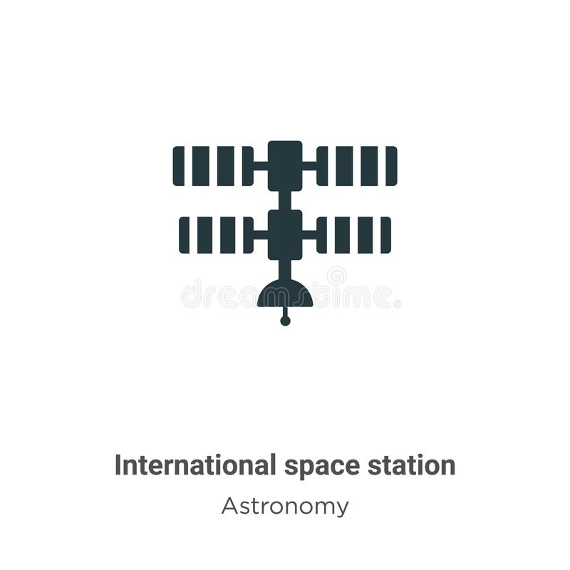 International space station vector icon on white background. Flat vector international space station icon symbol sign from modern. Astronomy collection for stock illustration
