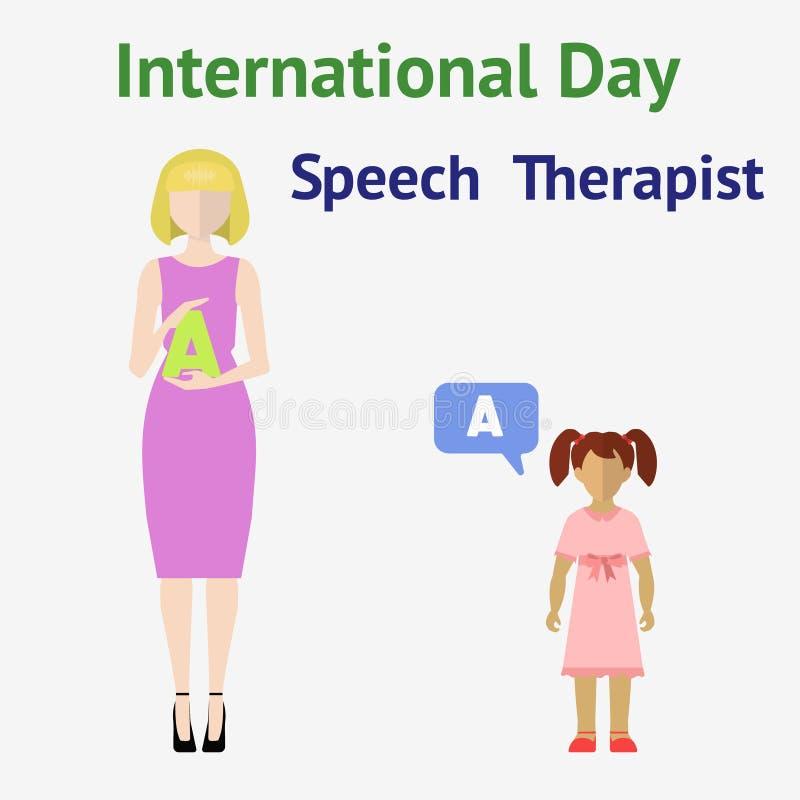 International speech therapist day stock illustration