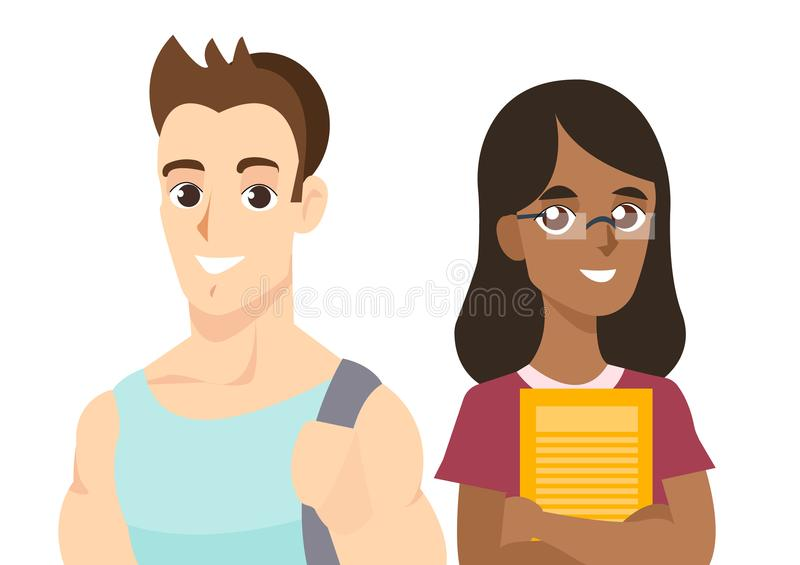 International students boy and girl isolated on the white background. Cartoon people in flat style. Internatinal. International students boy and girl isolated on vector illustration