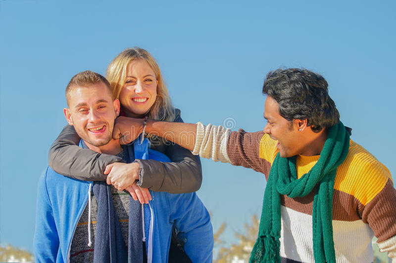 International students having fun stock image