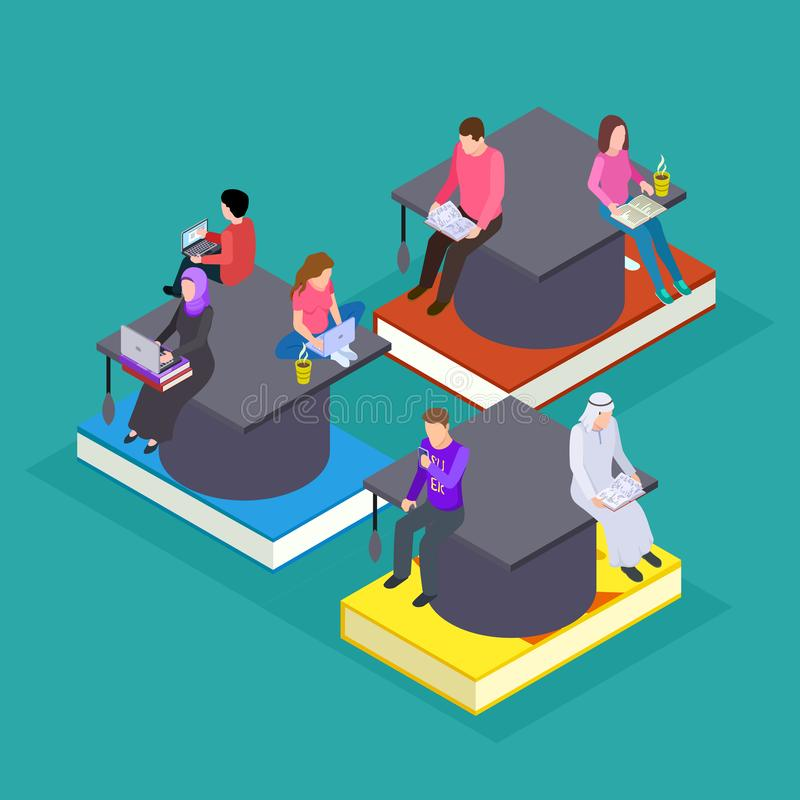 International students. Vector isometric education online. People with devices and books vector illustration stock illustration
