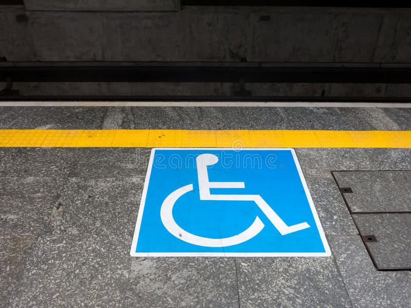 International symbol of access. In brazilian subway station royalty free stock photography