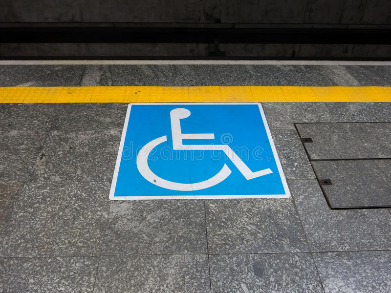 International symbol of access. In brazilian subway station stock images