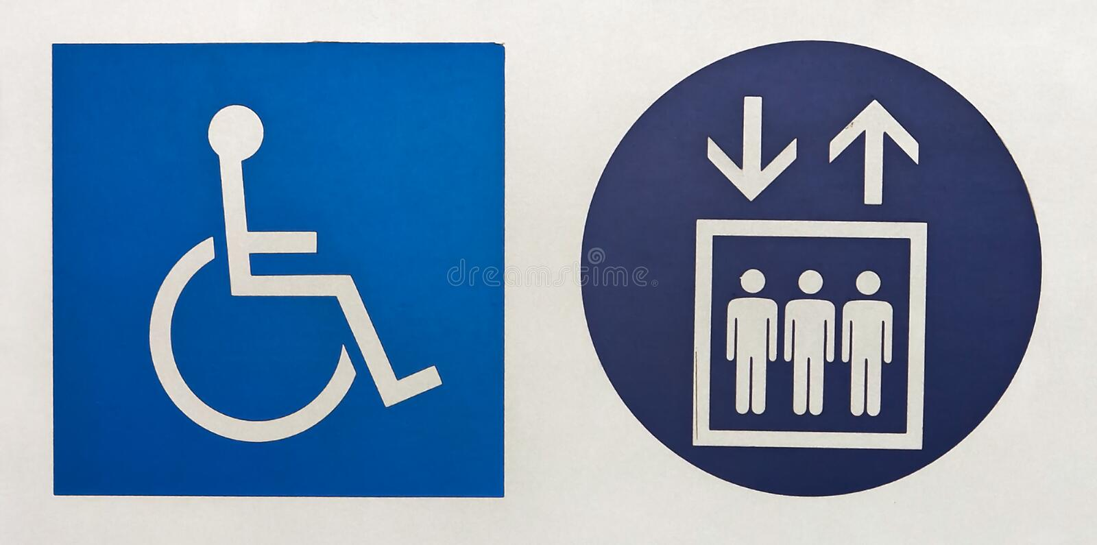 International symbol of access and elevator symbol. In brazilian subway station vector illustration