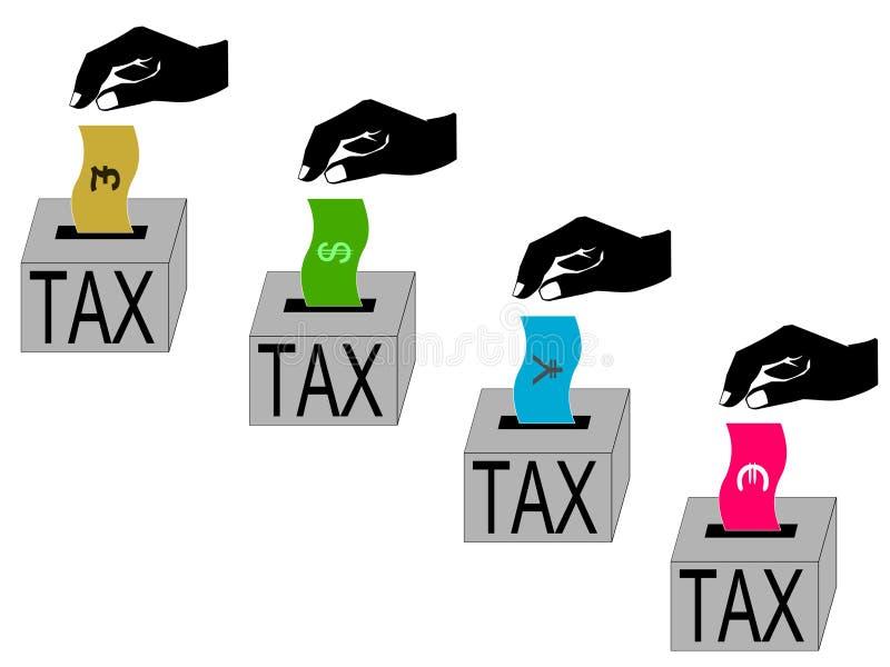 International tax paying vector illustration