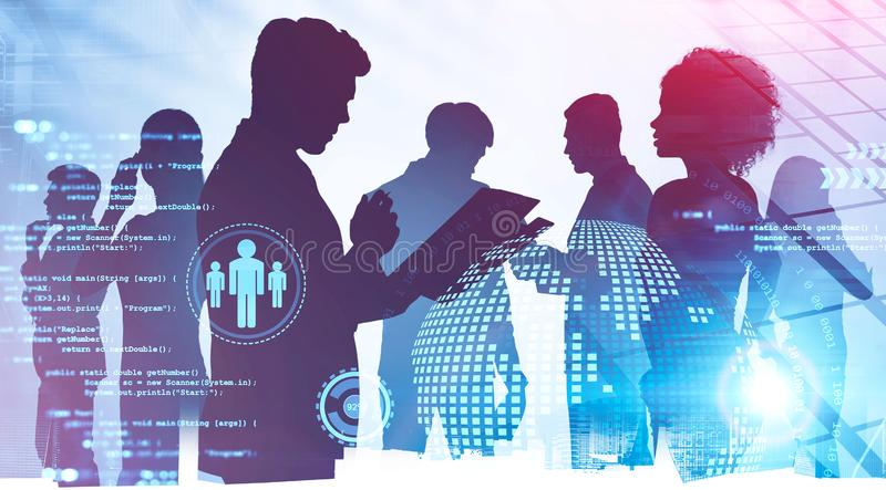 International team in city, business interface royalty free stock images