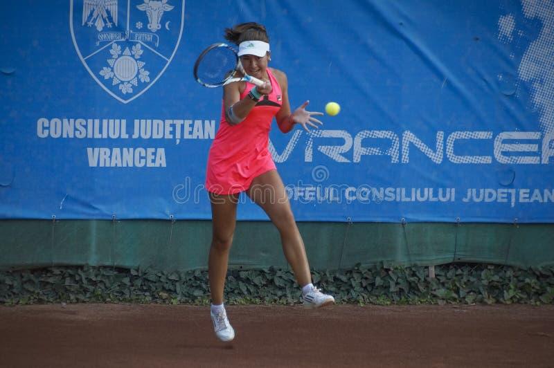 Irina Fetecau at international tennis tournament royalty free stock image