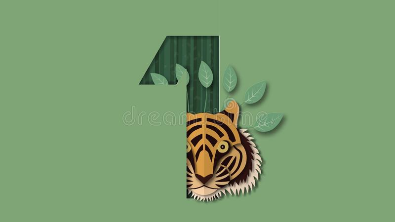 International tiger day with face and number. Vector illustration in paper cut and craft style royalty free illustration