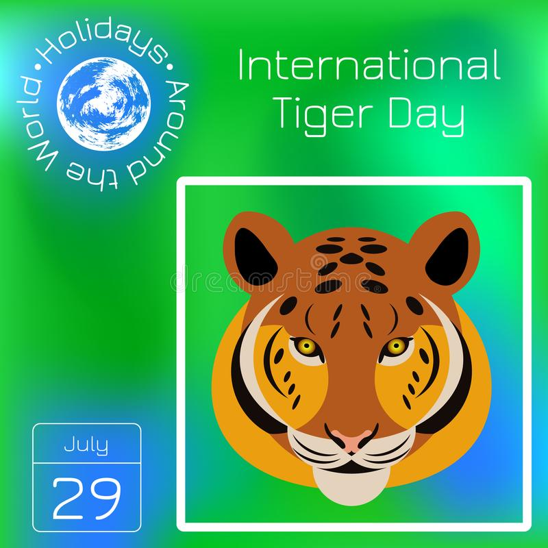International Tiger Day. July 29. Wild mammal is an animal. Cartoon style. Series calendar. Holidays Around the World. Event of ea royalty free illustration