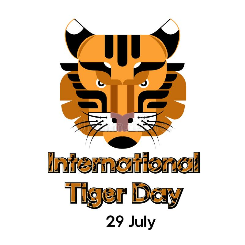 International Tiger day poster template with tiger head. Vector Illustration. royalty free illustration