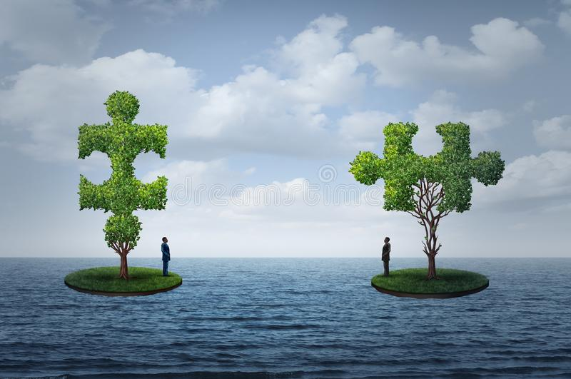 International Trade Challenge. And global commerce puzzle as two people on seperate islands with trees shaped as a jigsaw piesces with 3D illustration elements royalty free illustration