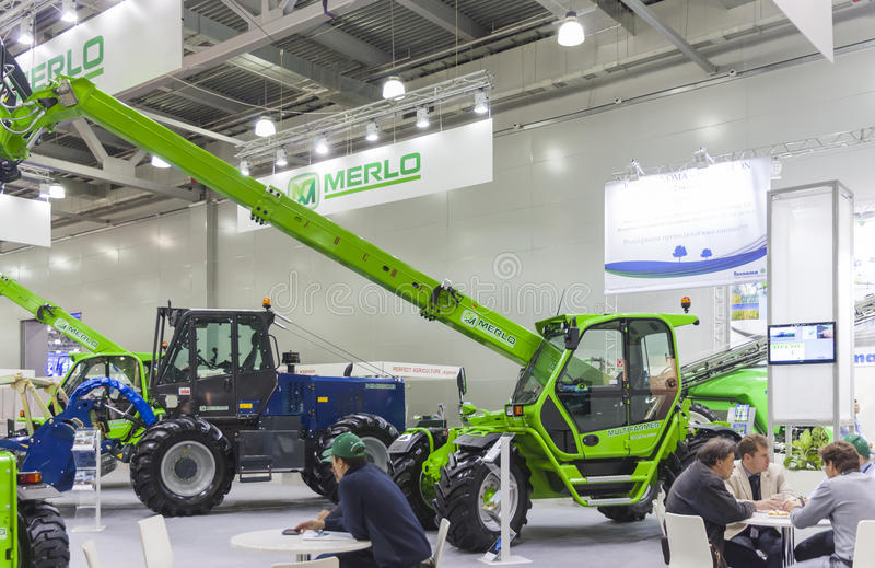 International Trade Fair AGROSALON. MOSCOW- OCTOBER 11, 2012: Agricultural machines of the Italian company MERLO at the International Trade Fair AGROSALON royalty free stock image