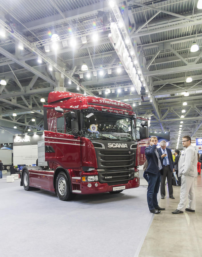International Trade Fair COMTRANS. MOSCOW, SEPTEMBER 12, 2013: The car of the Swedish company Scania at the International Trade Fair COMTRANS stock photos