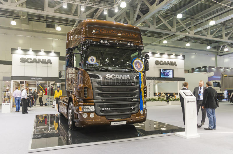 International Trade Fair COMTRANS. MOSCOW, SEPTEMBER 12, 2013: The car of the Swedish company Scania at the International Trade Fair COMTRANS royalty free stock images