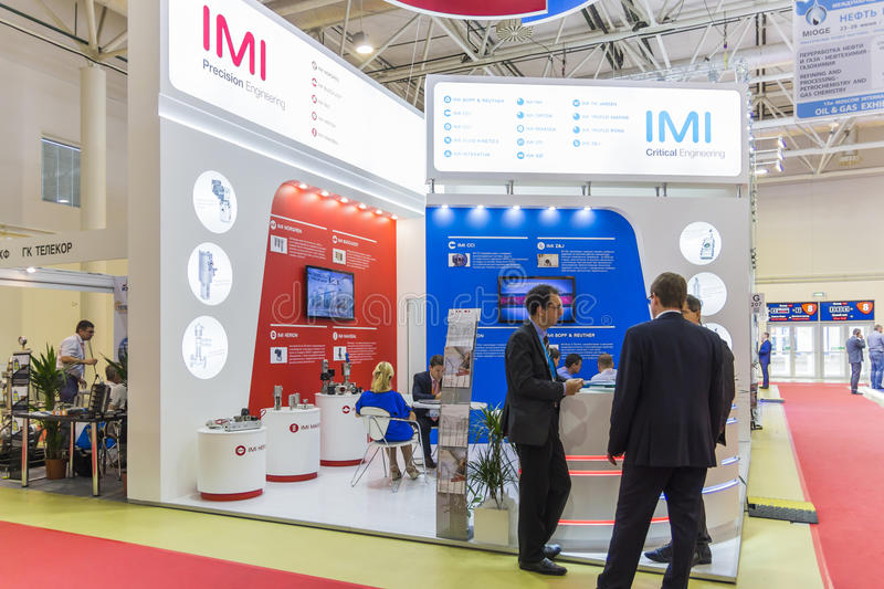 International Trade Fair MIOGE. MOSCOW-JUNE 24, 2015: Shutoff and control valves of the international corporation IMI at the International Trade Fair MIOGE stock photography