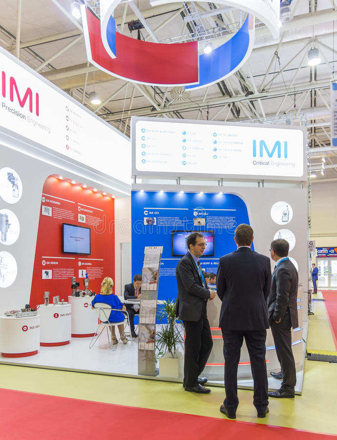 International Trade Fair MIOGE. MOSCOW-JUNE 24, 2015: Shutoff and control valves of the international corporation IMI at the International Trade Fair MIOGE stock image